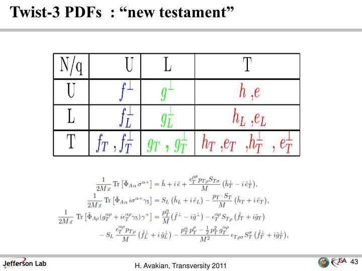 """Twist-3 PDFs  : """"new testament"""""""