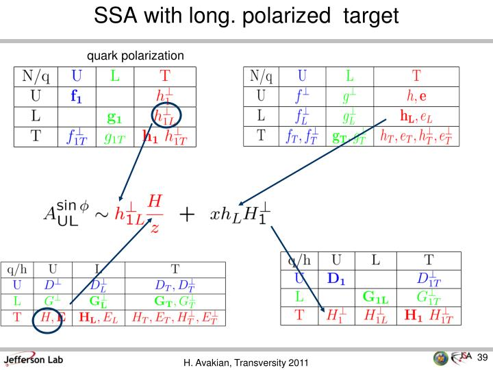 SSA with long. polarized  target