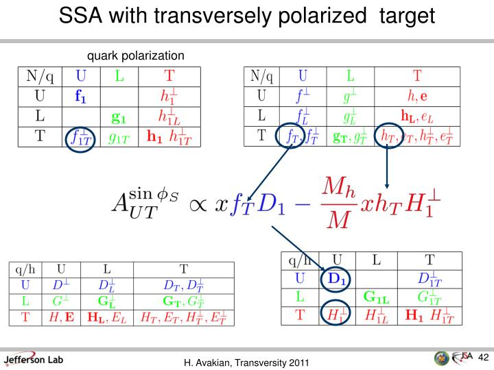 SSA with transversely polarized  target