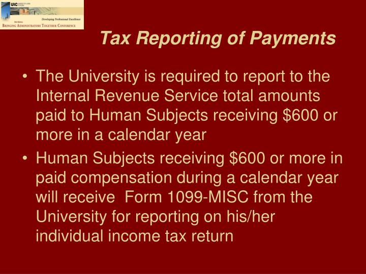 Tax Reporting of Payments
