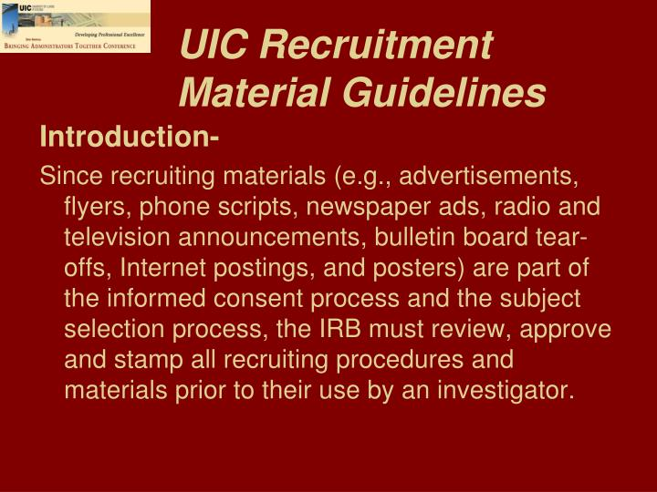 UIC Recruitment Material Guidelines