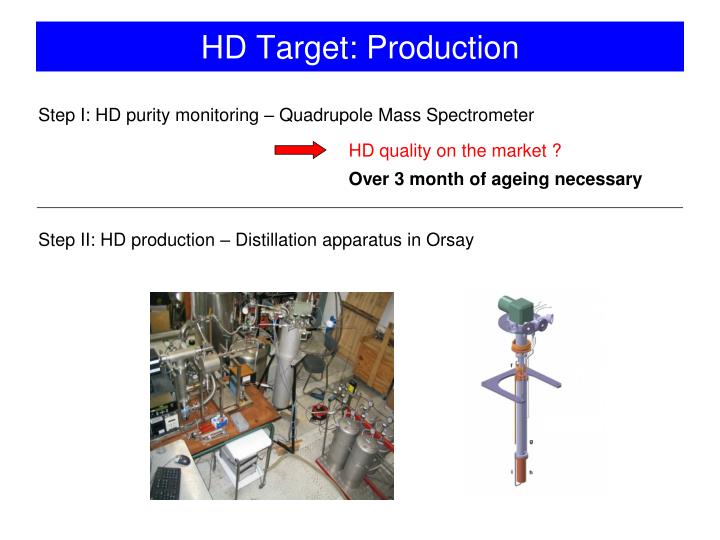 Step I: HD purity monitoring – Quadrupole Mass Spectrometer