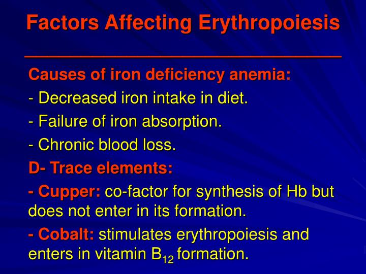 Factors Affecting Erythropoiesis