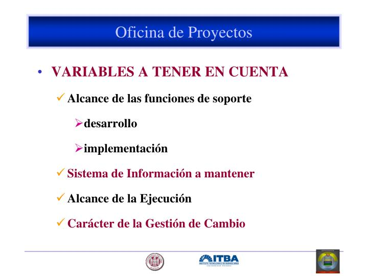 VARIABLES A TENER EN CUENTA