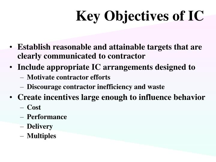 Key Objectives of IC