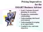 pricing imperatives for the smart business advisor