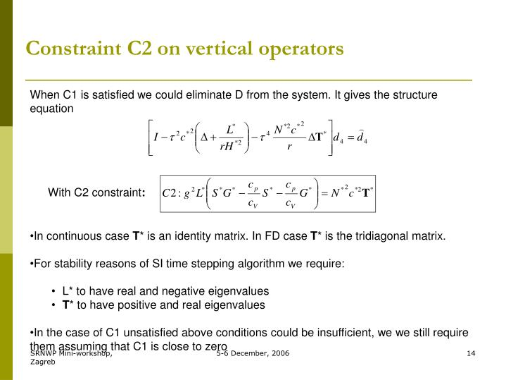 Constraint C2 on vertical operators