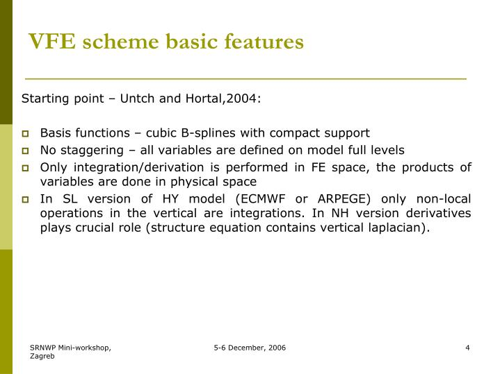VFE scheme basic features