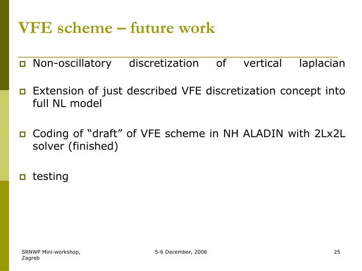 VFE scheme – future work