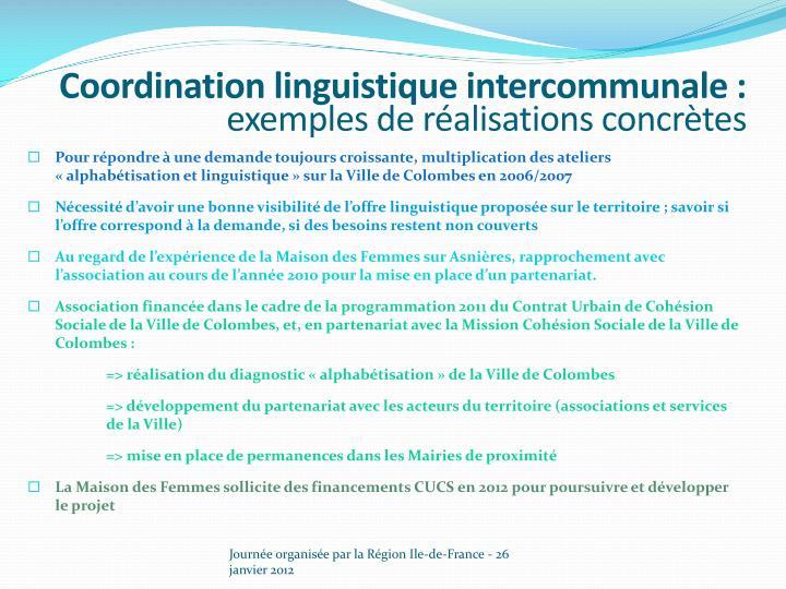 Coordination linguistique intercommunale :
