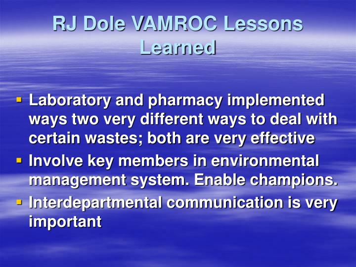 RJ Dole VAMROC Lessons Learned