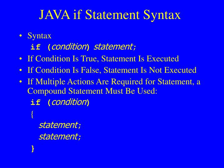Java if statement syntax