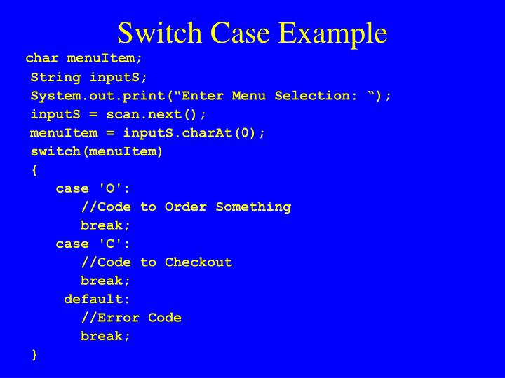 Switch Case Example