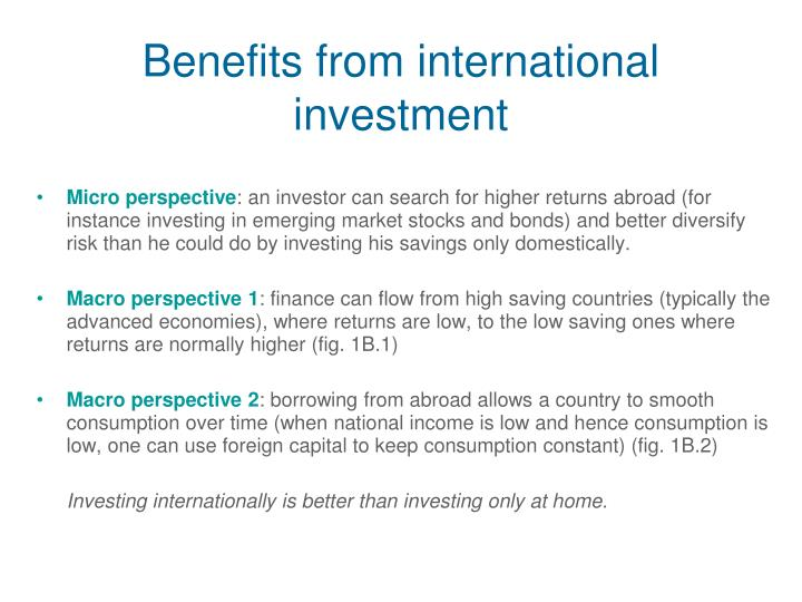 Benefits from international