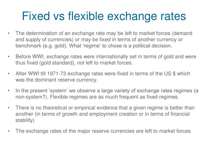 Fixed vs flexible exchange rates