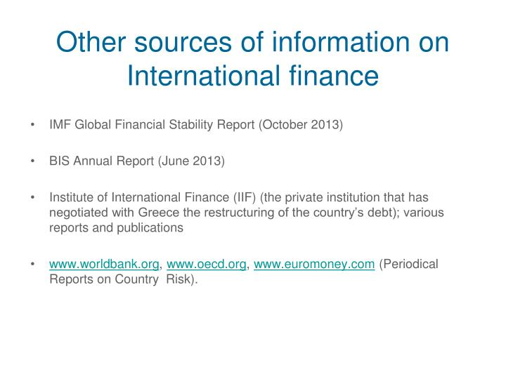 Other sources of information on International finance