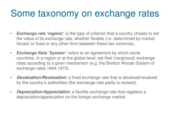 Some taxonomy on exchange rates