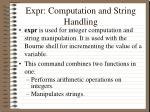 expr computation and string handling