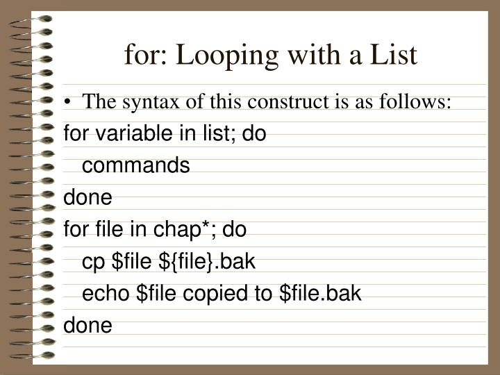 for: Looping with a List