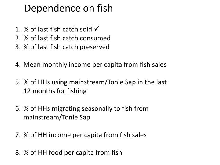 Dependence on fish