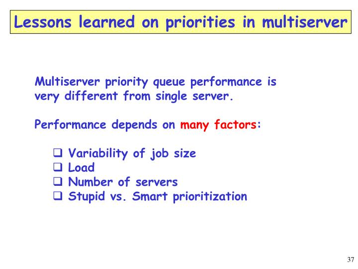 Lessons learned on priorities in multiserver