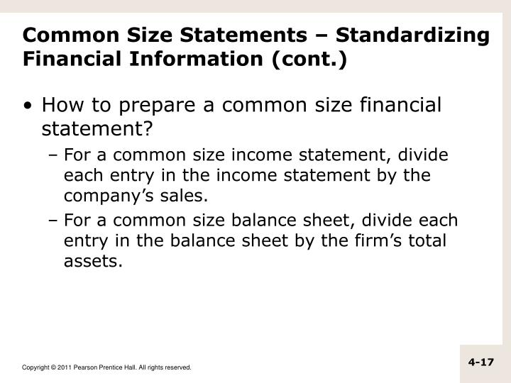 Common Size Statements – Standardizing Financial Information (cont.)