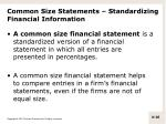 common size statements standardizing financial information