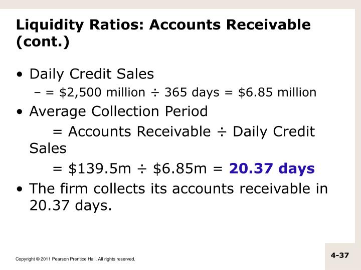 Liquidity Ratios: Accounts Receivable (cont.)
