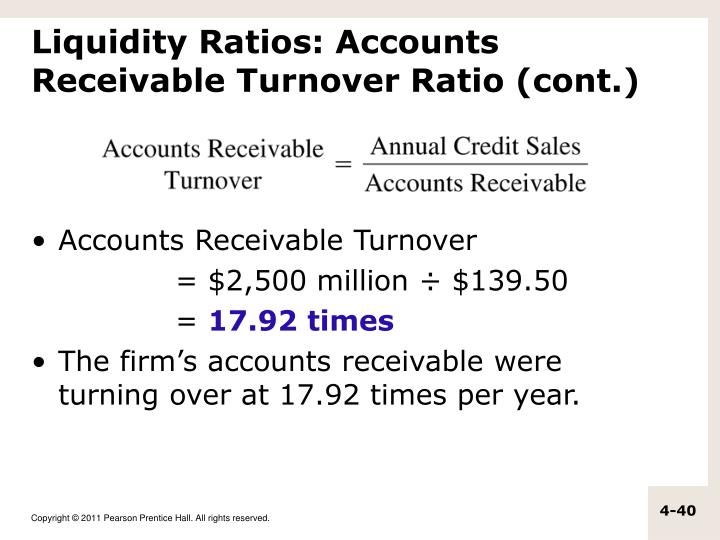 Liquidity Ratios: Accounts Receivable Turnover Ratio (cont.)