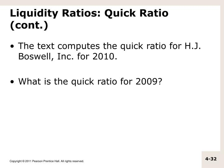 Liquidity Ratios: Quick Ratio