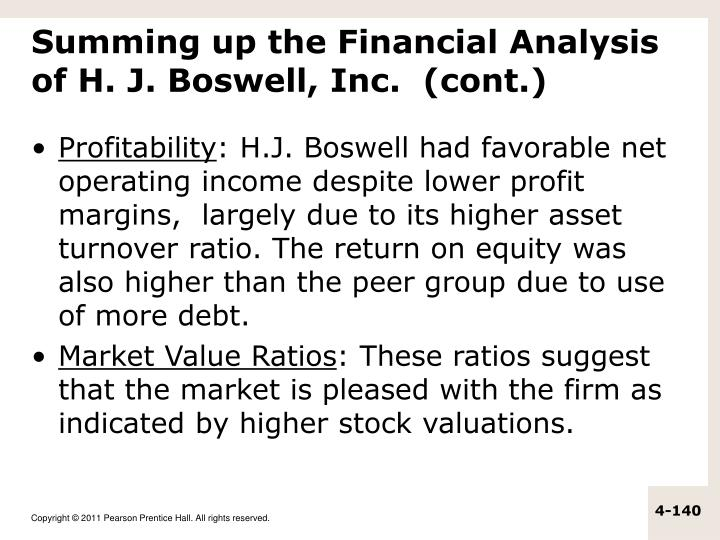 Summing up the Financial Analysis of H. J. Boswell, Inc.  (cont.)