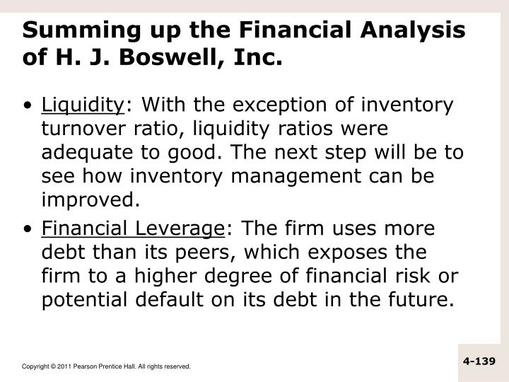 Summing up the Financial Analysis of H. J. Boswell, Inc.