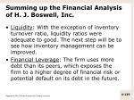 summing up the financial analysis of h j boswell inc