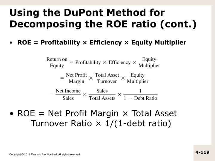 Using the DuPont Method for Decomposing the ROE ratio (cont.)