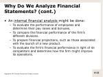 why do we analyze financial statements cont