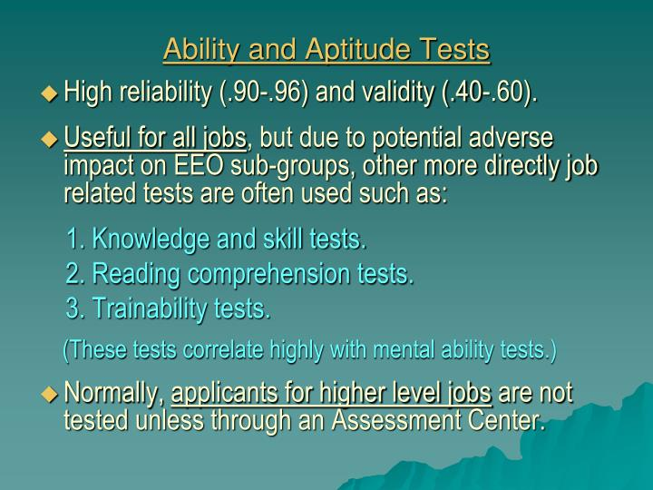 Ability and Aptitude Tests