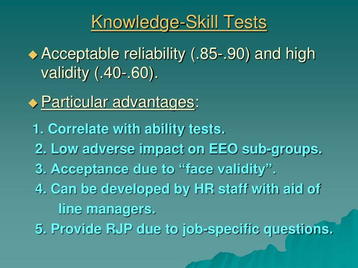 Knowledge-Skill Tests