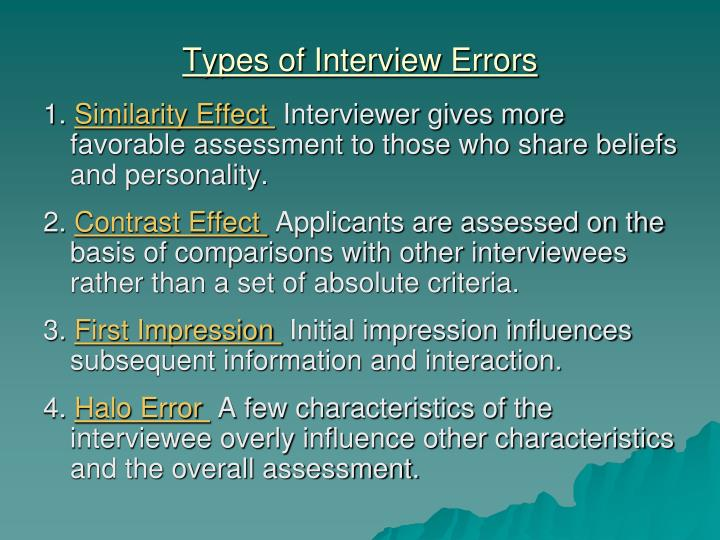 Types of Interview Errors