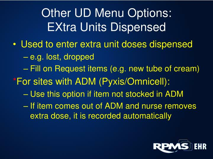 Other UD Menu Options: