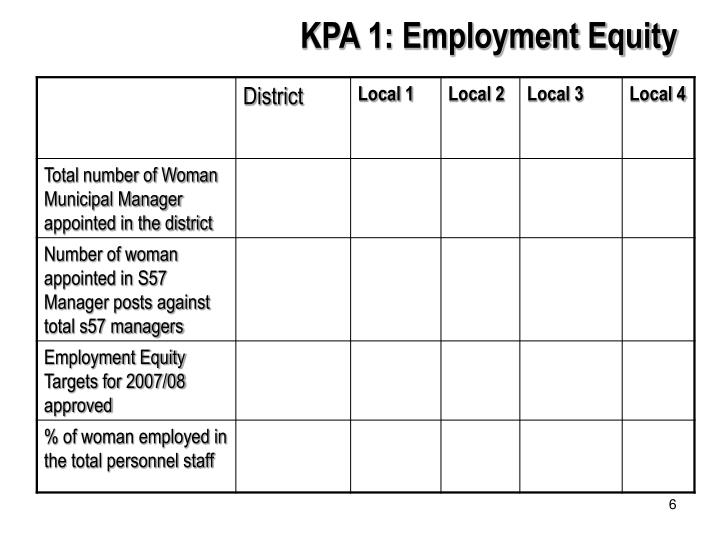 KPA 1: Employment Equity