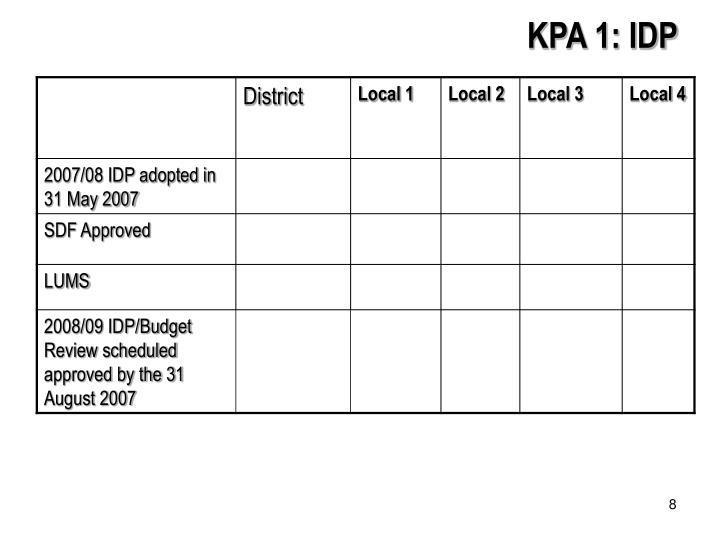KPA 1: IDP