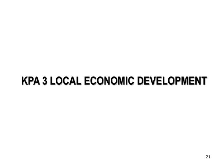 KPA 3 LOCAL ECONOMIC DEVELOPMENT