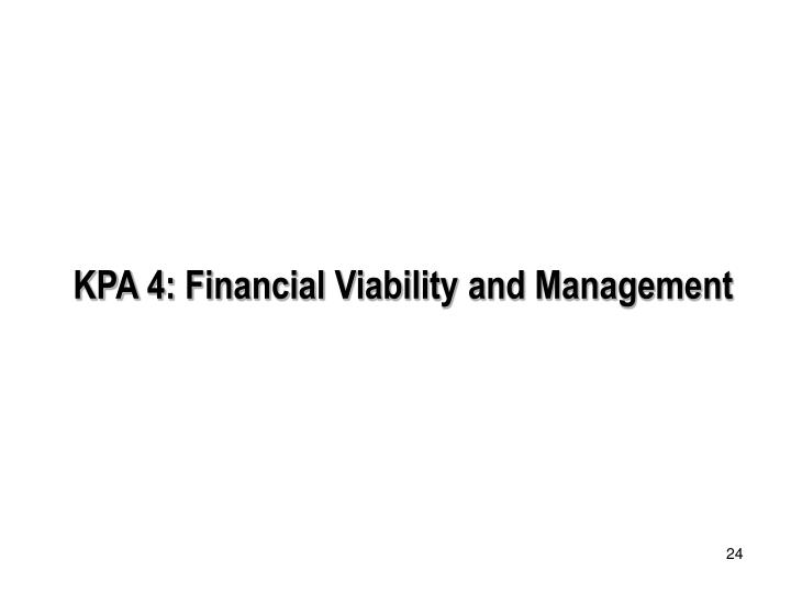KPA 4: Financial Viability and Management