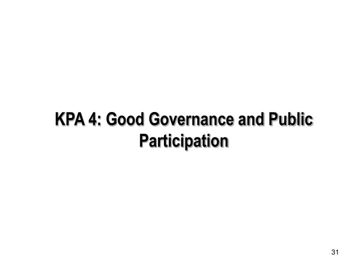 KPA 4: Good Governance and Public Participation