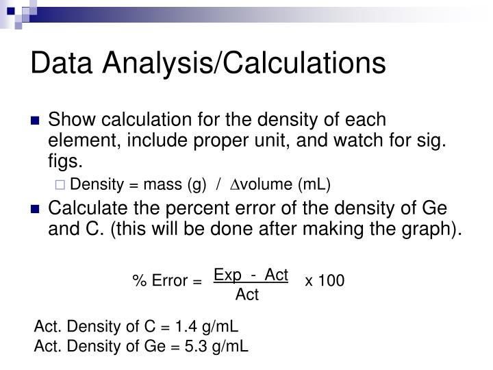 Data Analysis/Calculations