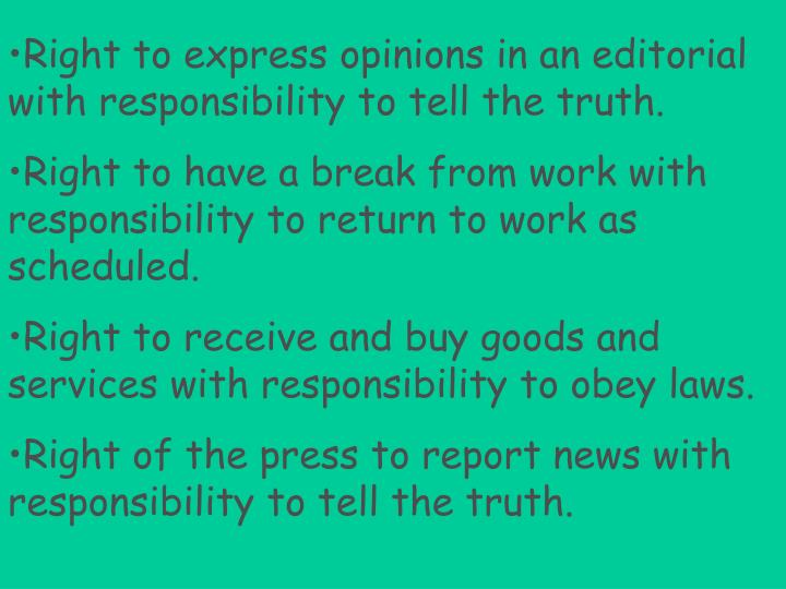 Right to express opinions in an editorial with responsibility to tell the truth.
