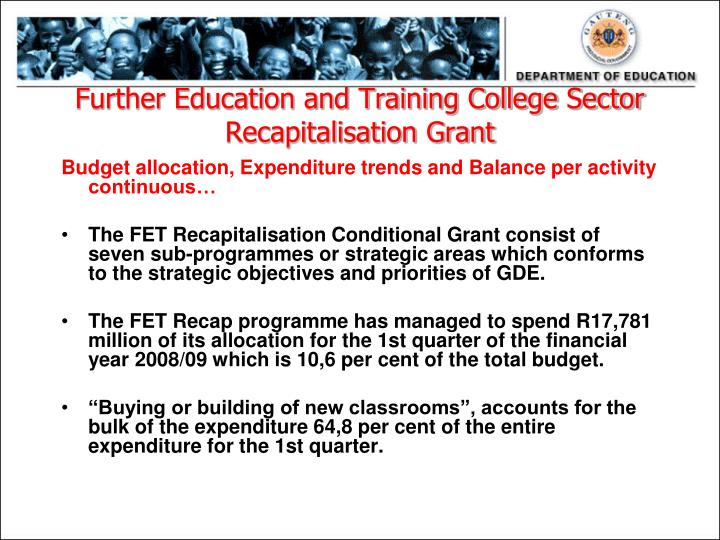 Further Education and Training College Sector Recapitalisation Grant