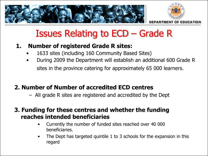 Issues Relating to ECD – Grade R