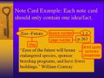 note card example each note card should only contain one idea fact