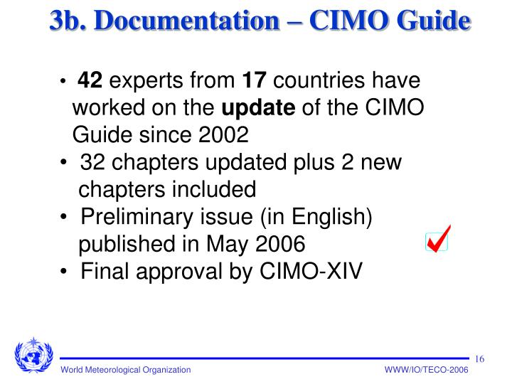 3b. Documentation – CIMO Guide
